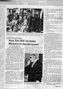 BBT Article Baptist Standard New Van Will Increase Ministry to Handicapped June 1, 1983